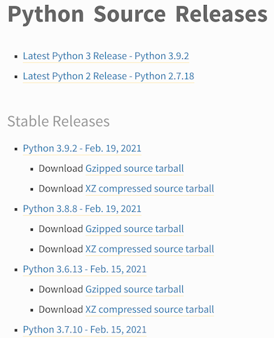 An image showing the current stable releases of Python from Python.org