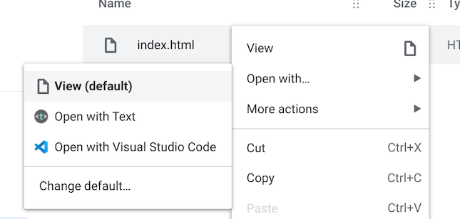 An image showing the View (default) option for index.html