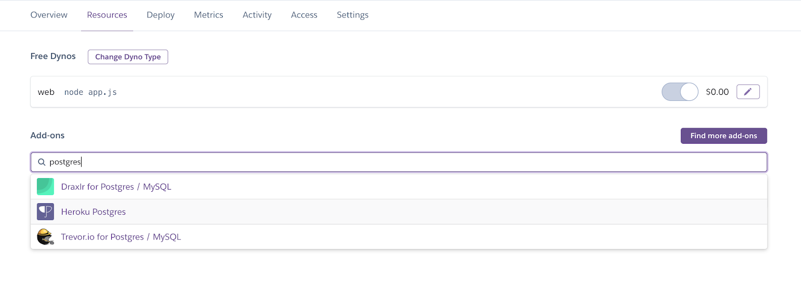 Heroku Postgres Add-On