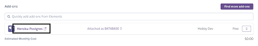 Close up of the Heroku Postgres open in a new tab link and icon under the Add-ons category