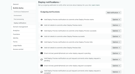 "Screenshot of the ""Deploy notifications"" section of the ""Site settings"" tab"