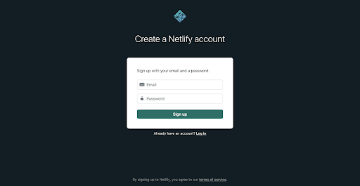 Screenshot of creating an account with the Email option