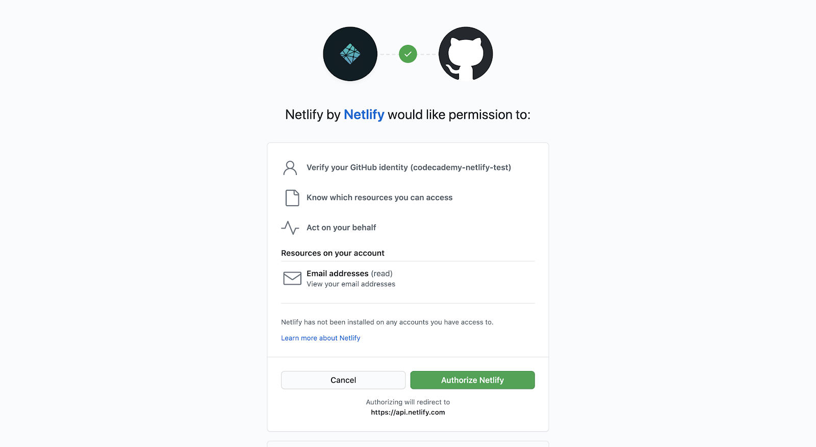Screenshot of authorizing Netlify to connect with GitHub