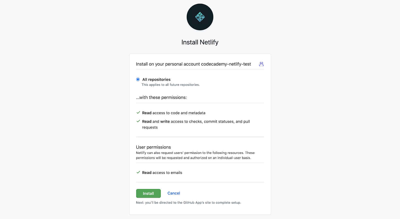 Screenshot of installing Netlify on GitHub