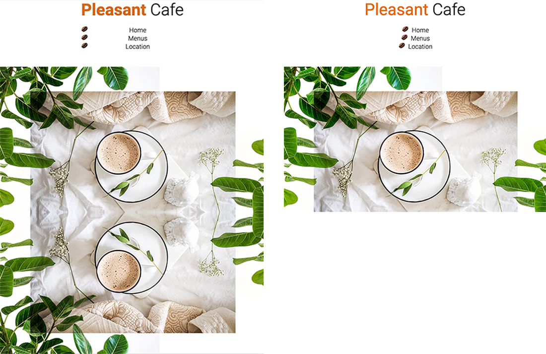 image of Pleasant Cafe website on Chrome and Firefox