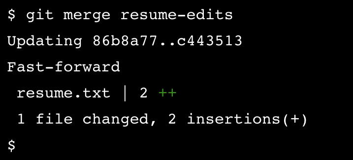 git merge resume-edits brings the changes from resume.txt into the master branch