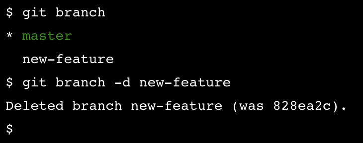 "git branch -d new-feature will delete the branch with the name ""new-feature"""