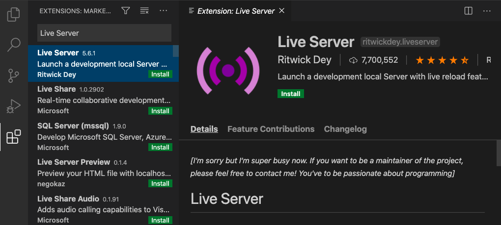 The Live Server extension can be found by searching in the Extensions view on the left-hand sidebar of VS Code.