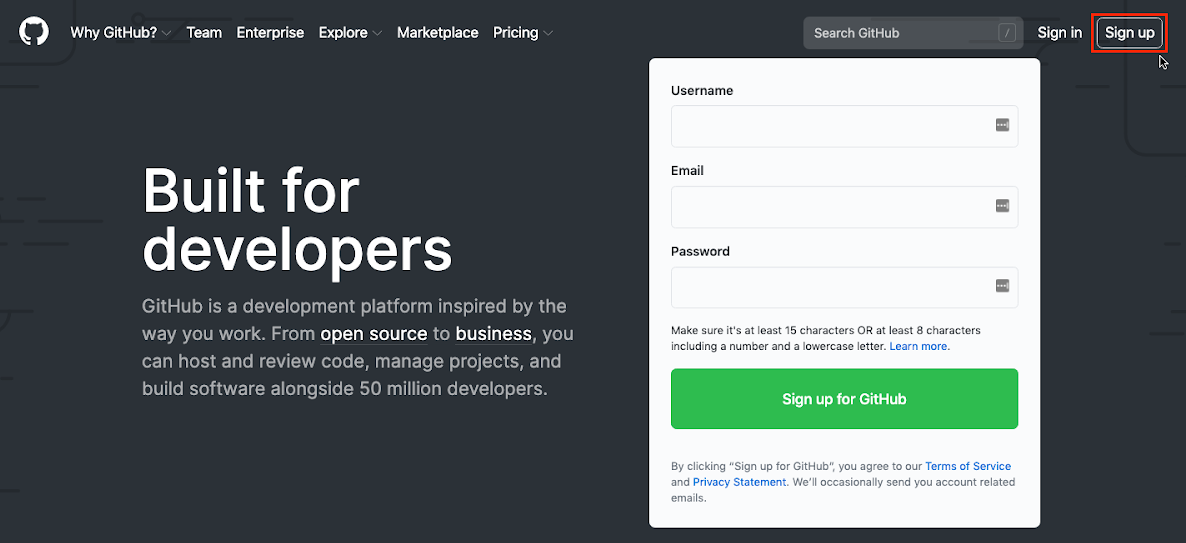 Home page of the GitHub website with the mouse pointing at the **Sign Up** button which is highlighted