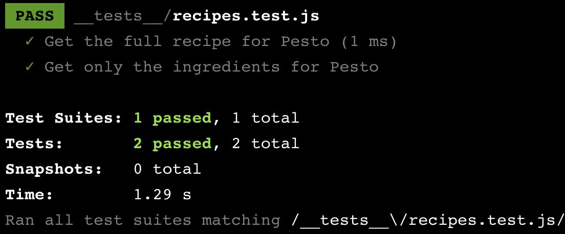 Jest test output