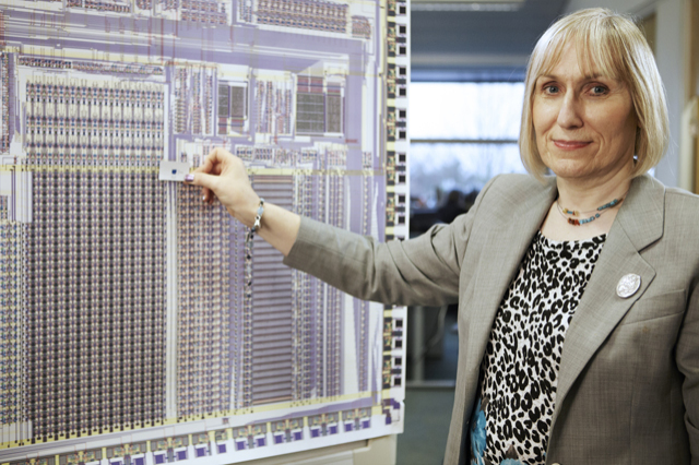 Picture of Sophie Wilson working at a board