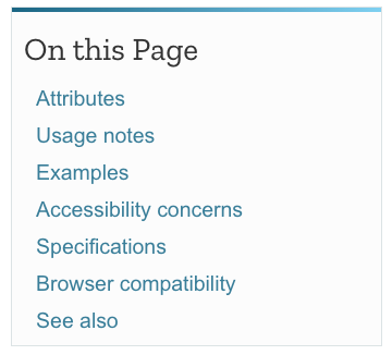 On this Page section of the MDN article for HTML section heading elements
