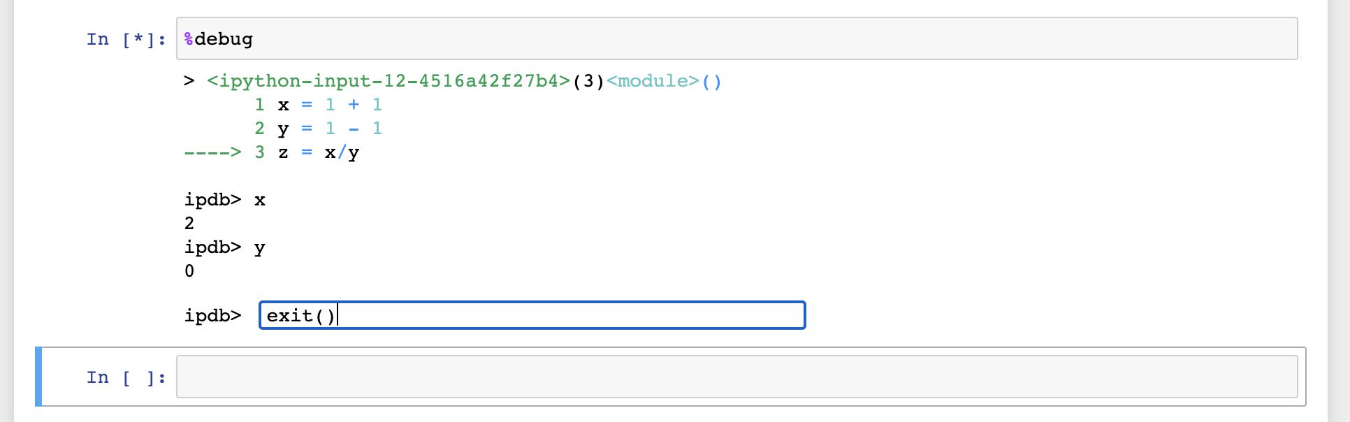 debig interface showing exit() debug to exit
