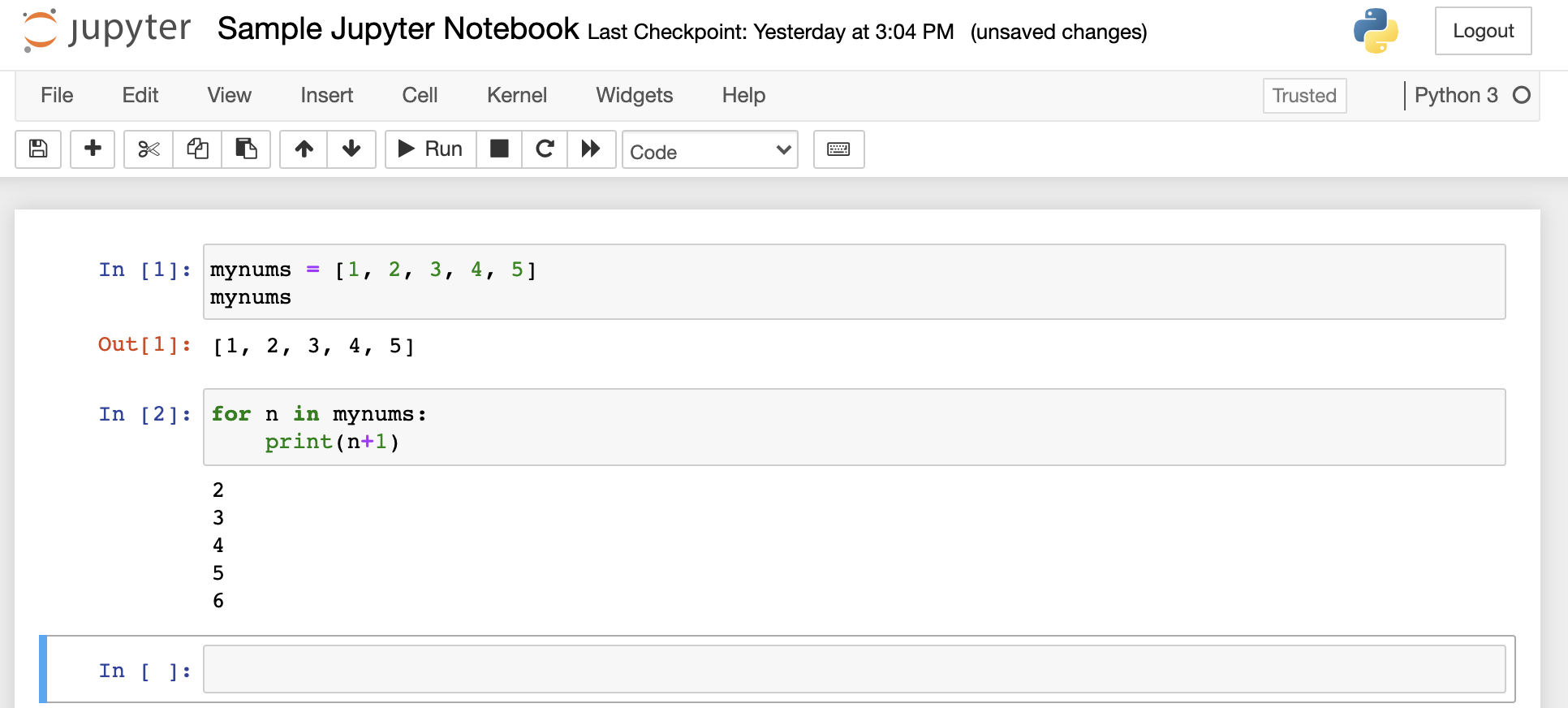for n in mynums: print(n+1) loop displayed in a notebook cell with the output displayed below the cell