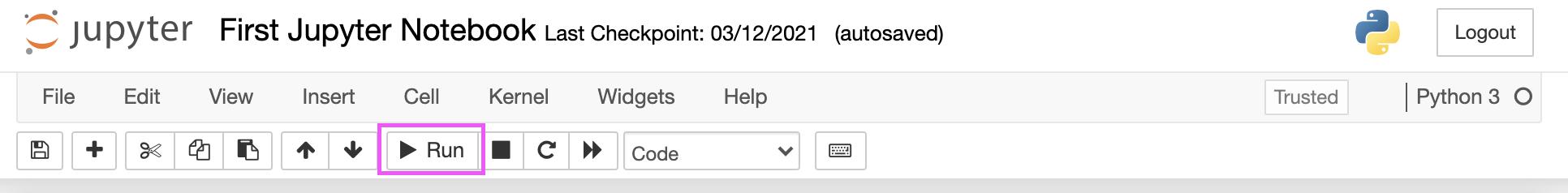 run button in the Jupyter Notebook menu