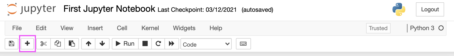 + button in the Jupyter Notebook menu