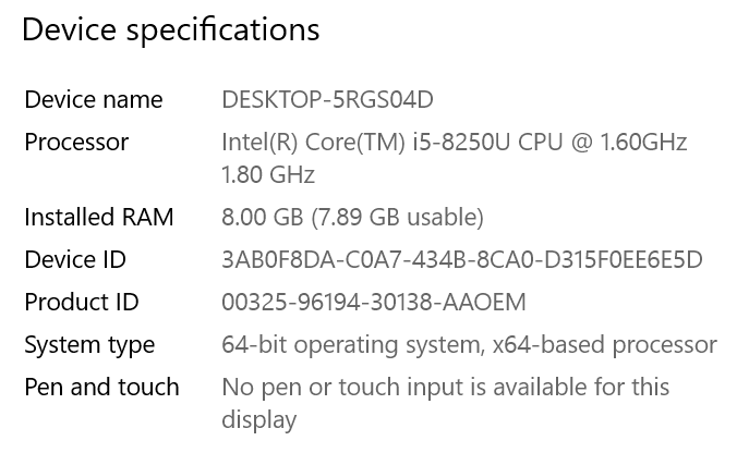 Screenshot of Windows device specifications where system type is '64-bit operating system, x64-based processor'