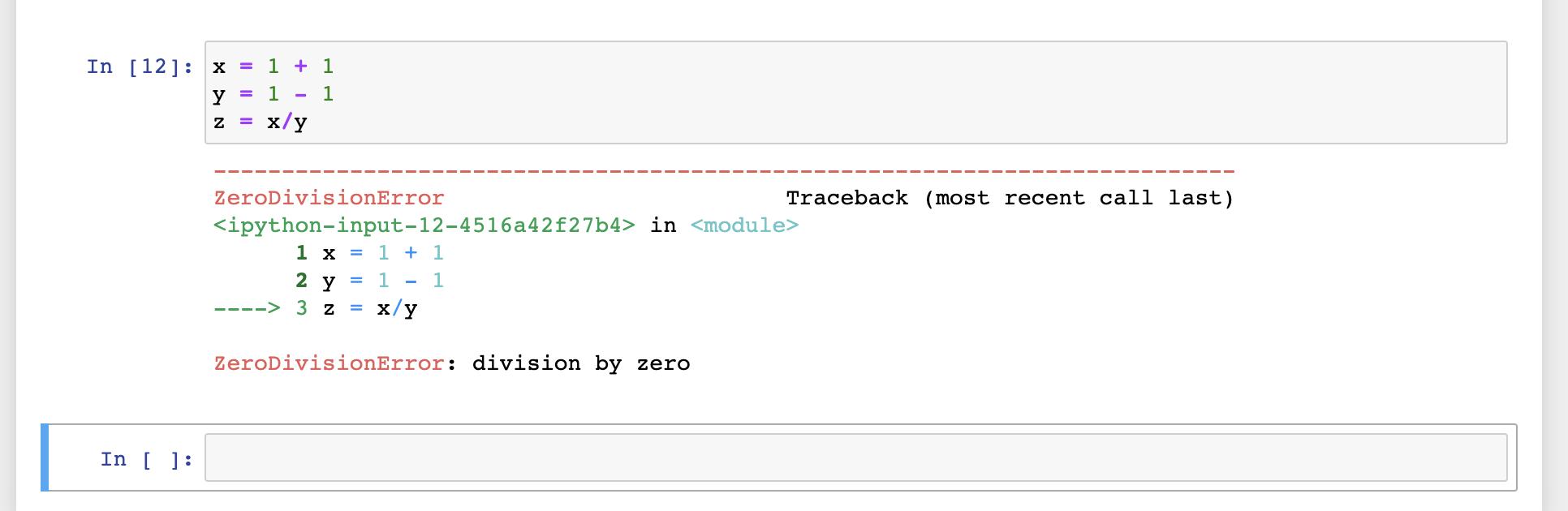 notebook showing zero division error