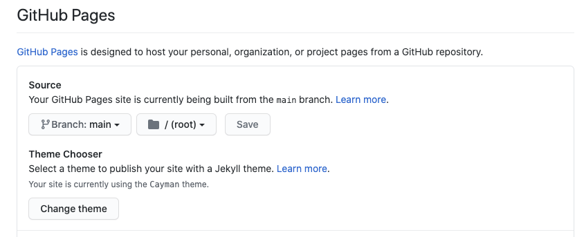 Repo Settings, GitHub Pages section