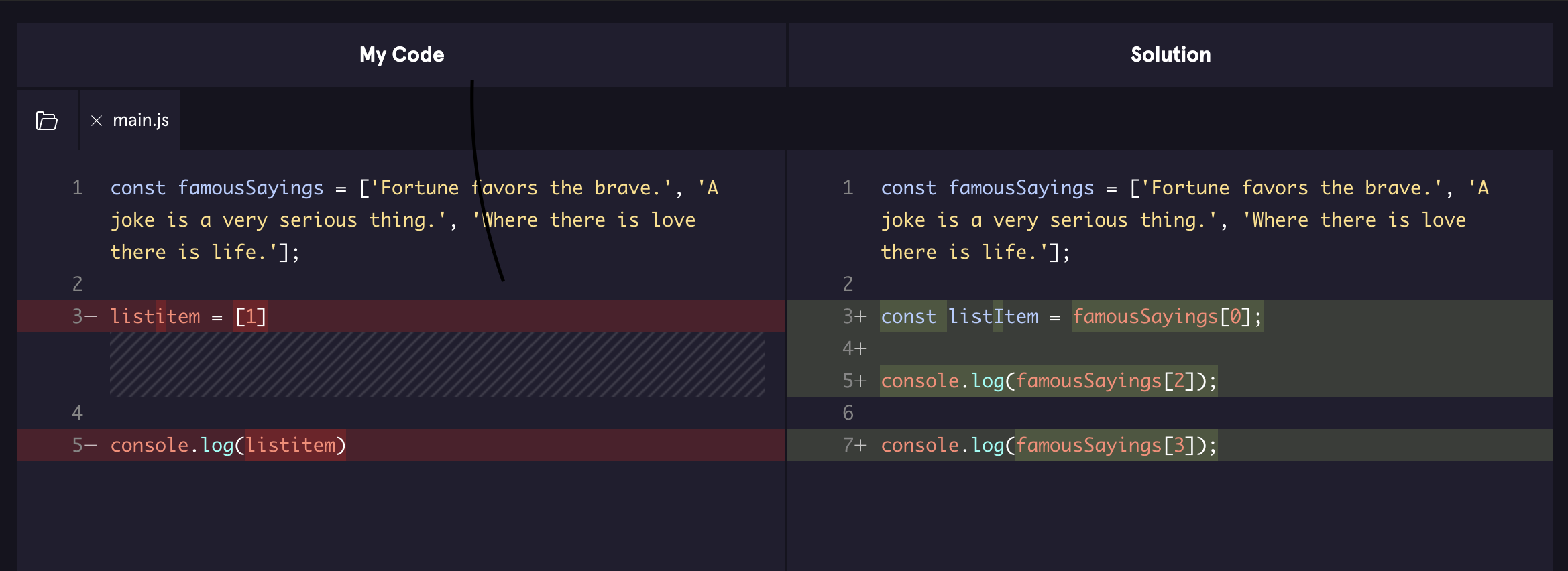 image of a diff between two code files