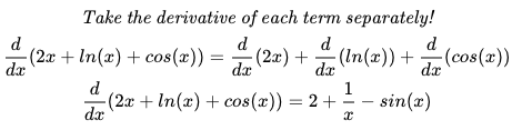 The final answer is 2+1/x-sin(x)]